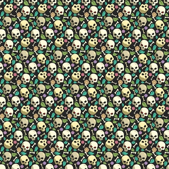 Skull and bone vintage seamless pattern background