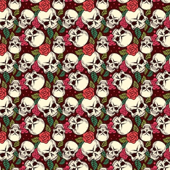 Skull and bone vintage seamless pattern halloween background
