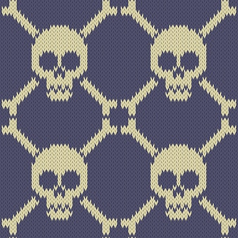 Skull and bones. knitted seamless woolen pattern