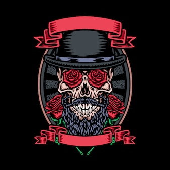 Skull in bowler hat with rose flower