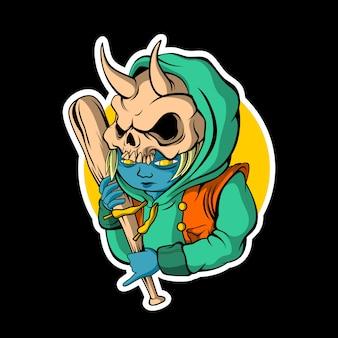 Skull boy retro sticker on dark