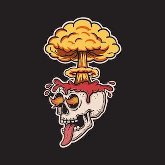 두개골 뇌가 폭발하고 불타는 눈이 내부에서 마그마를 방출했습니다.