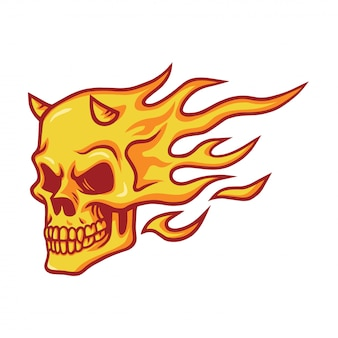 Skull burning fire vector