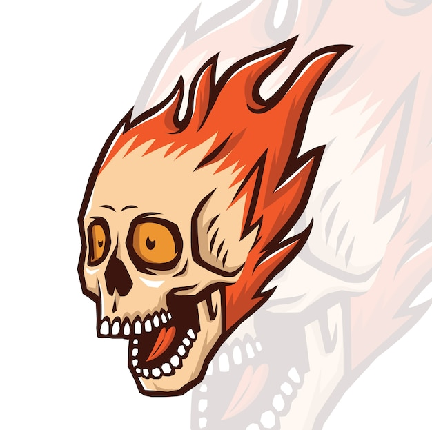Skull burning mascot
