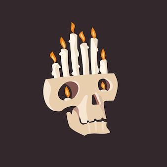 Подсвечник в виде черепа с горящей свечой. элемент дизайна для хэллоуина или дня мертвых. иллюстрация.