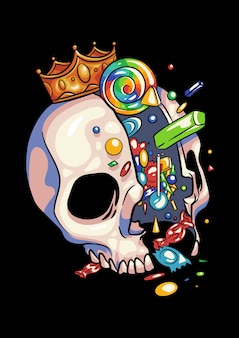 Череп конфеты король хэллоуин иллюстрация