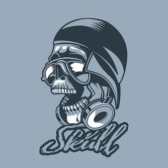 Skull in a cap and headphones