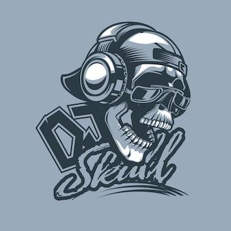 Skull in cap and headphones