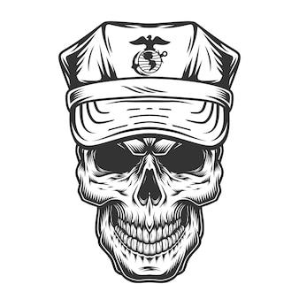 Skull in cap of military officer
