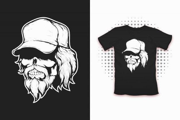 Skull in cap print for t-shirt