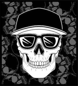 Skull cap wearing glasses