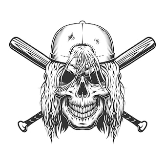 Skull in cap with long hair