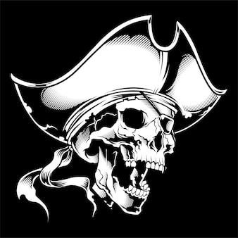 Skull captain of pirate in wheel
