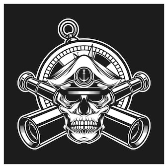 Skull captain with binoculars and compass