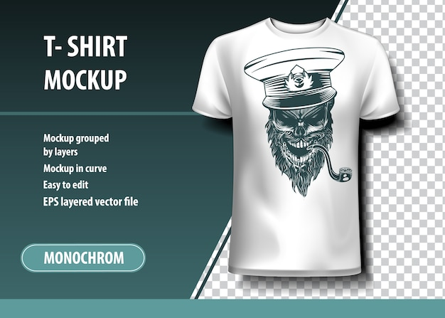 Skull captain with a pipe. t-shirt template, fully editable.