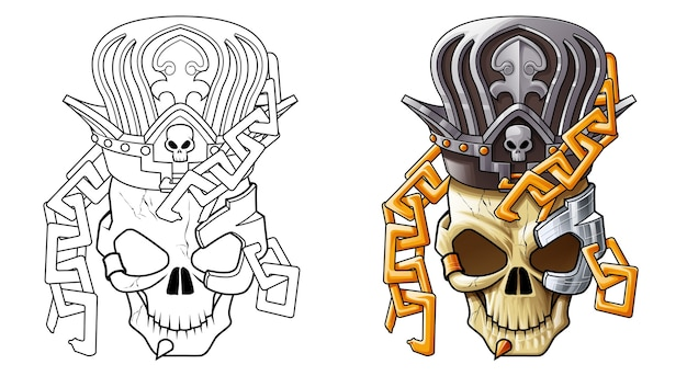아이들을위한 해골 만화 색칠 공부 페이지