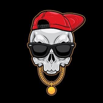 Skull cartoon hiphop style