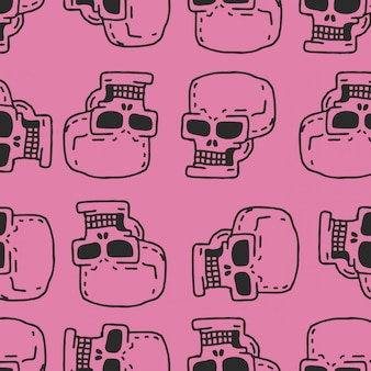 Skull cartoon seamless pattern. skeleton head drawing ornament.