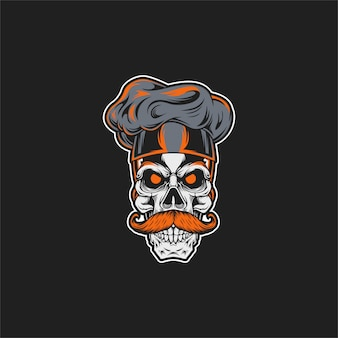 Skull chef illustration