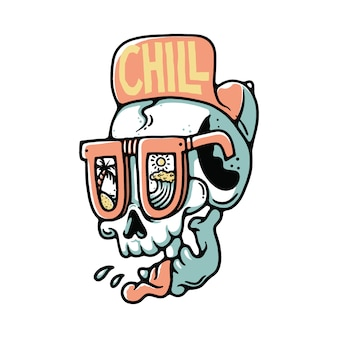 Skull chill out summer beach illustration