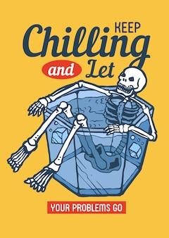 Skull chilling on the bucket of ice enjoying summer days in 80's retro illustration