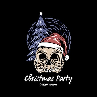 Череп рождественская вечеринка иллюстрация