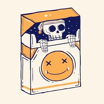 Skull in cigarette packs illustration premium