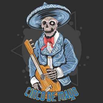 Skull of cinco de mayo guitar