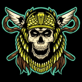 Череп клеопатра с золотым шлемом талисман дизайн логотипа