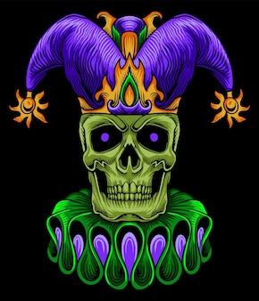 Skull clown mardi gras illustration