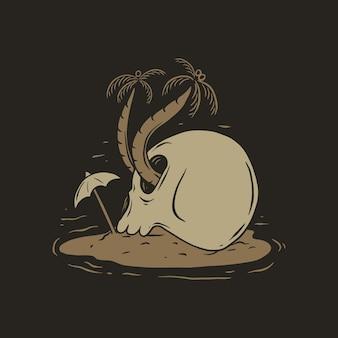 Skull coconute on beach tshirt design
