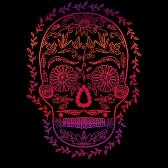 Skull color gradient on black background, symbol of the day of the dead  image