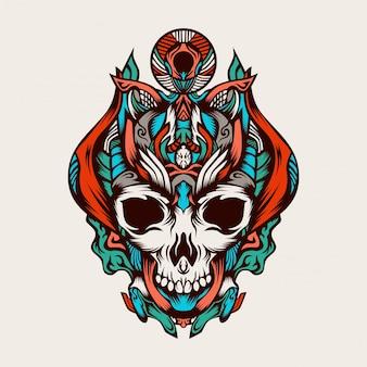 Skull combat commander vector illustration