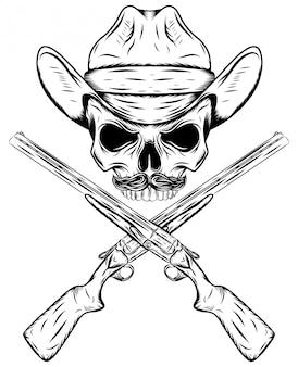 ウエスタンハットとイラストの交差した銃で頭蓋骨のカウボーイ
