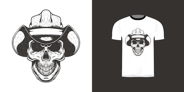 Tシャツデザインの頭蓋骨カウボーイレトロイラスト