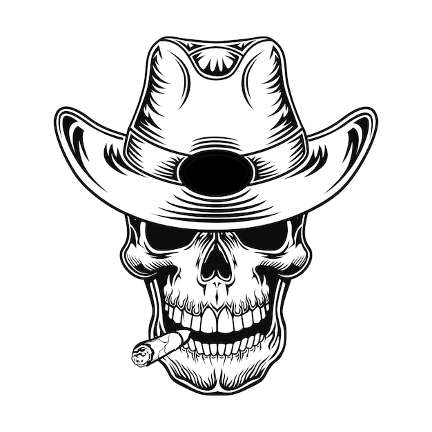 Skull of cowboy vector illustration. head of character in hat with cigarette