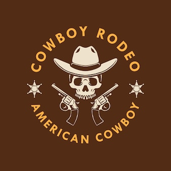 Skull cowboy with hand gun logo design