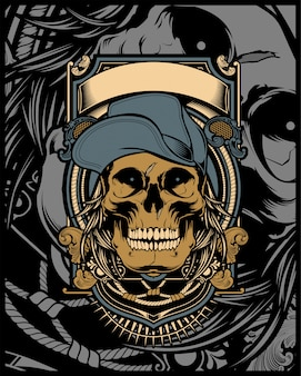 Skull cross bone with hat