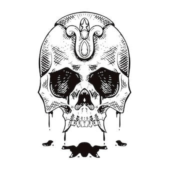 Skull cross hatching lineal style