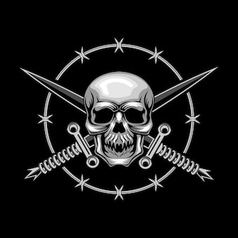 Skull and cross swords vector illustration
