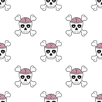 Skull crossbones halloween seamless pattern