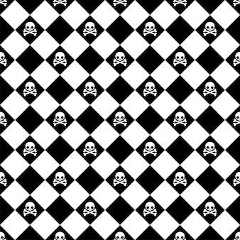 Skull crossbones seamless pattern halloween checked