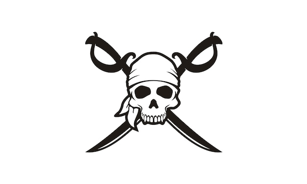 Skull & crossing swords pirates logo