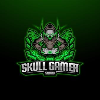Skull crystal stone mascot esport