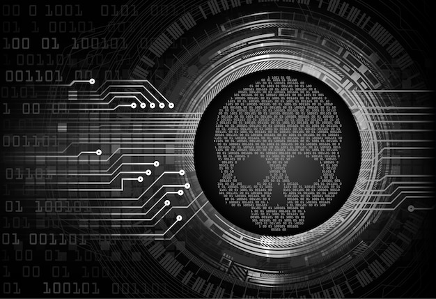 Skull cyber circuit future technology concept background