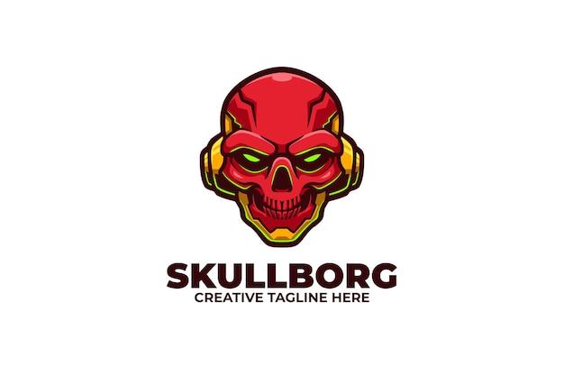 Skull cyborg robotic mascot logo