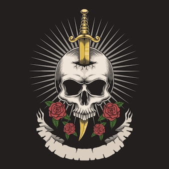 Skull dagger rose
