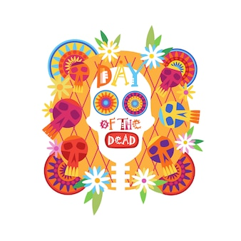 Skull day of dead concept traditional mexican halloween dia de los muertos holiday party decoration banner invitation