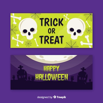 Skull and dead flat halloween banners