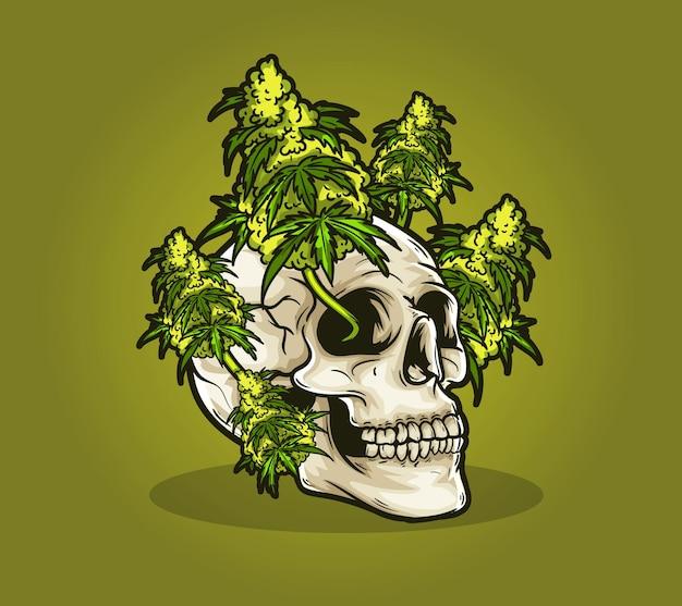 頭蓋骨の死んだ雑草大麻マリファナ
